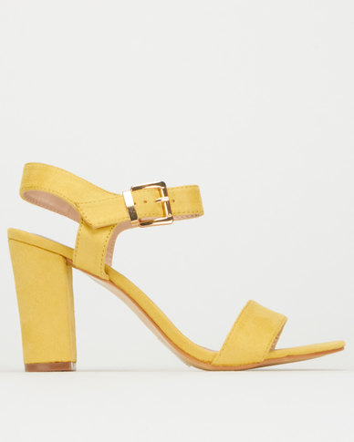 Utopia Ankle Strap Block Heel Mustard