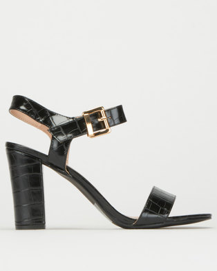Utopia Ankle Strap Block Heel Black