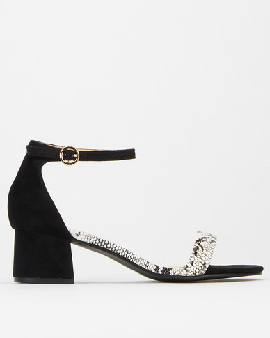 Utopia Strippy Snake Block Heels Black