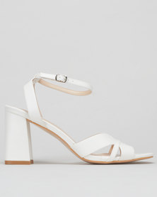 Utopia Flared Block Heel Sandals White