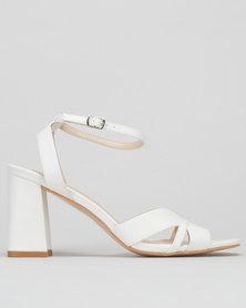 Utopia Flared Block Heel Sandals White
