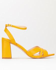 Utopia Flared Block Heel Sandals Yellow