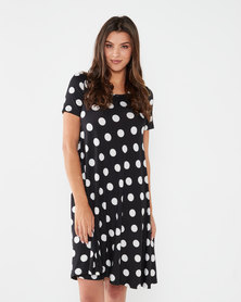 Queenspark Dot Ingrid Knit Dress Black