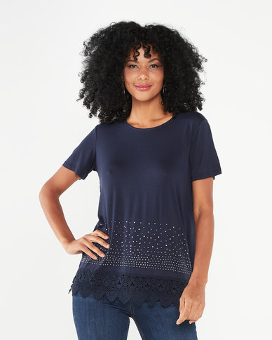 Queenspark Double Layer Gorgeous Knit Top Navy