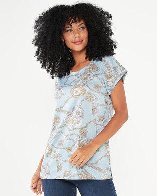 Queenspark Glitter Buckle Print Knit Top Light Blue