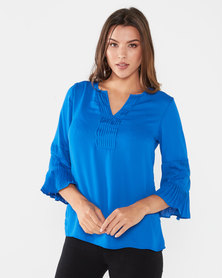 Queenspark Ornate Sleeve Woven Blouse Blue