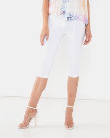 Queenspark Tramline & Pocket Detail Woven Shorts White