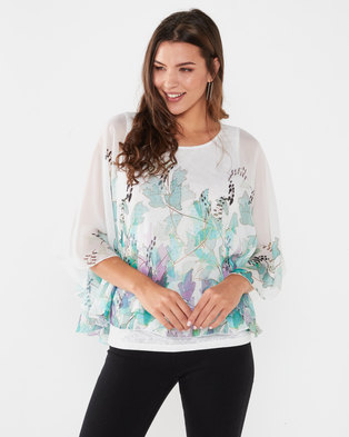 Queenspark Molly Double Layer Chiffon & Knit Top White