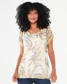 Queenspark Floral Leaf Design Knit Top Multi