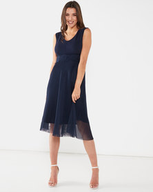 Queenspark Fancy Glam Fit & Flare Knit Dress Navy