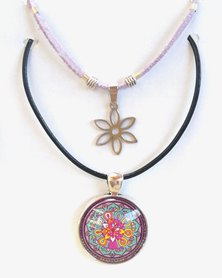 Abarootchi Paired Mandala necklace Lilac with Daisy