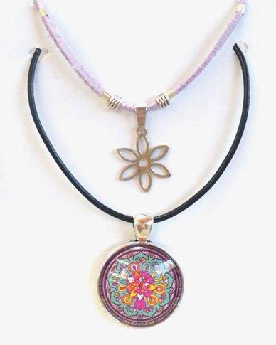 Abarootchi Paired Mandala necklace Lilac with Daisy