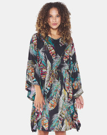 cath.nic By Queenspark Elsie Feather Knit Kimono Dress Multi