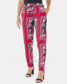 cath.nic By Queensparkk Chain Print Woven Trousers Red