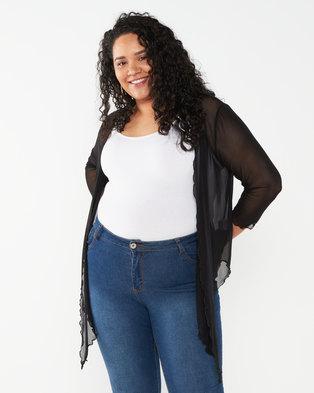 Queenspark Plus Collection Plain Mesh Knit Bolero Jacket  Black