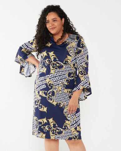 Queenspark Plus Collection Heraldic Printed Knit Dress Navy