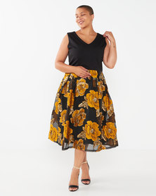 Queenspark Plus Collection Van Gogh Glamour Knit Dress Yellow