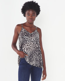 Miss Cassidy By Queenspark Printed Lace Woven Camisole Multi Animal Print