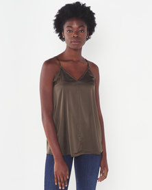 Miss Cassidy By Queenspark Fatigue Silk Touch Lace Woven Camisole