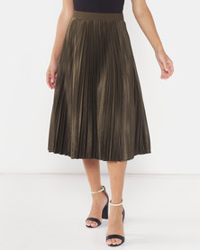 Miss Cassidy By Queenspark Pleated Satin Woven Skirt Fatigue