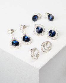 Queenspark Sapphire 4 Pack Glamour Earrings Navy