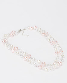 Queenspark Double Row Pearl Necklace Pink