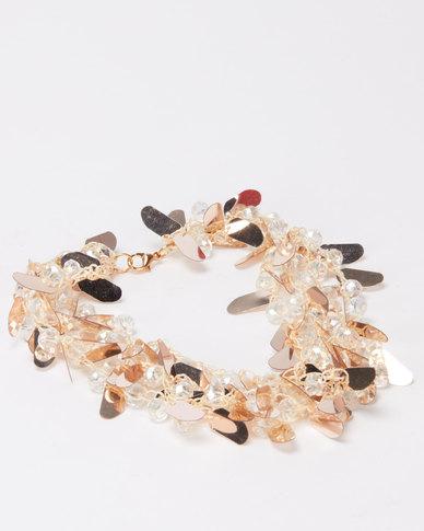 Queenspark Moon Drop Sequin Necklace Gold