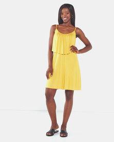 Nucleus Frill & Flare Dress Mustard