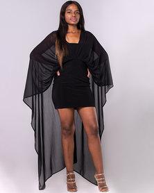 The Blue Mango Draped Bodycon Dress Black