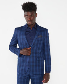 JCrew Check 2 Button Suit Jacket Navy