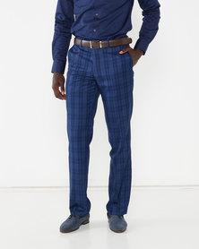 JCrew Check Flat Front Suit Trousers Navy