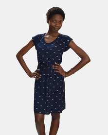 SKA Birds Print Short Sleeves Dress Blue