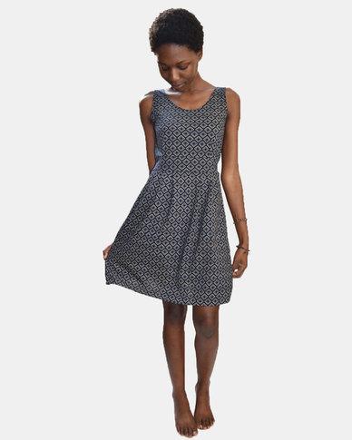 SKA Diamonds Print Sleeveless Dress Blue