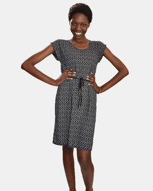 SKA Diamonds Print Short Sleeves Dress Black