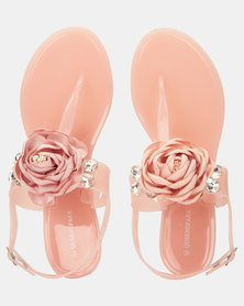 Queenspark Single Flower With Outer Crystals Pink Sandals