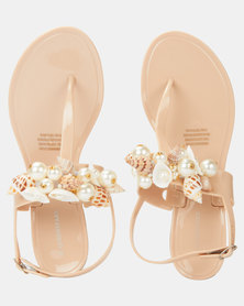 Queenspark Seashell Jelly Nude Sandals