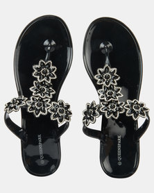 Queenspark Crystal Star Flowers Jelly Black Sandals