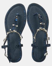 Queenspark Python Trim Mini Wedge Embellished Upper Indigo Sandals