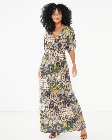 Utopia Ethnic Print Viscose Maxi Dress Multi