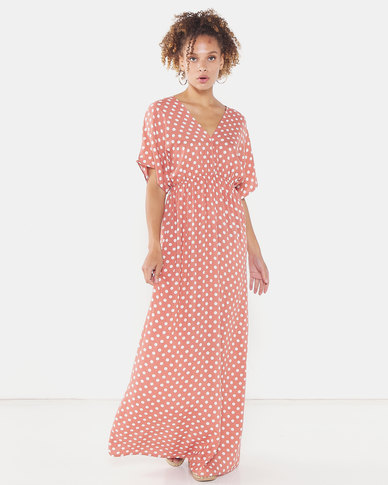 Utopia Polka Dot Viscose Maxi Dress Rust