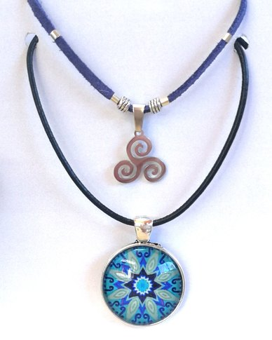 Abarootchi Paired Mandala necklace Blue with Celtic spiral