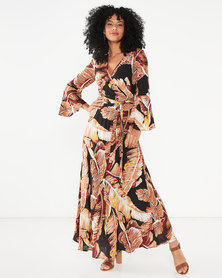 G Couture Long Bell Sleeve Maxi Dress Black Multi