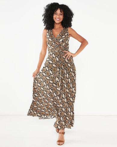 G Couture Sleeveless Snake Print Wrap Dress Brown
