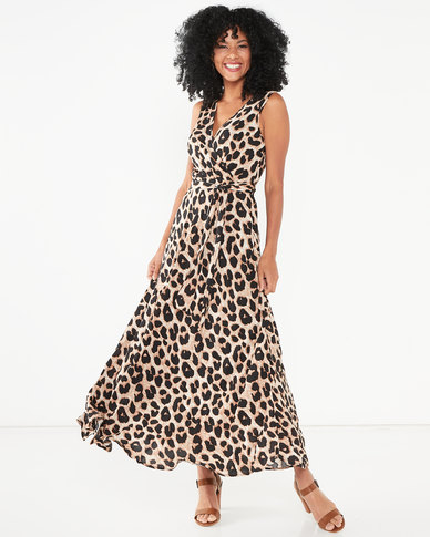 G Couture Sleeveless Leopard Print Wrap Dress Brown