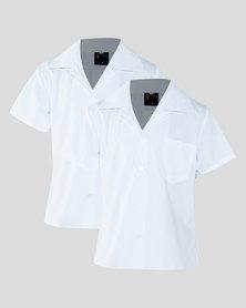 Schoolwear SA Girls 2 Pack Open Neck School Short Sleeve Shirt White