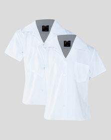 Schoolwear SA Boys 2 Pack School Short Sleeve Shirt White