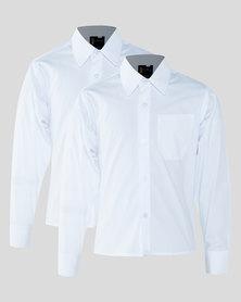 Schoolwear SA Boys 2 Pack School Long Sleeve Shirt White