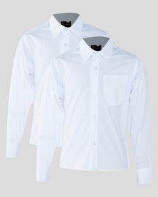 Schoolwear SA Boys 2 Pack School LS Shirt White