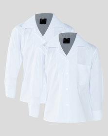 Schoolwear SA Girls 2 Pack School LS Shirt White