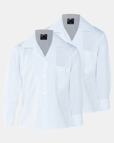 Schoolwear SA Girls 2 Pack School Long Sleeve Shirt White